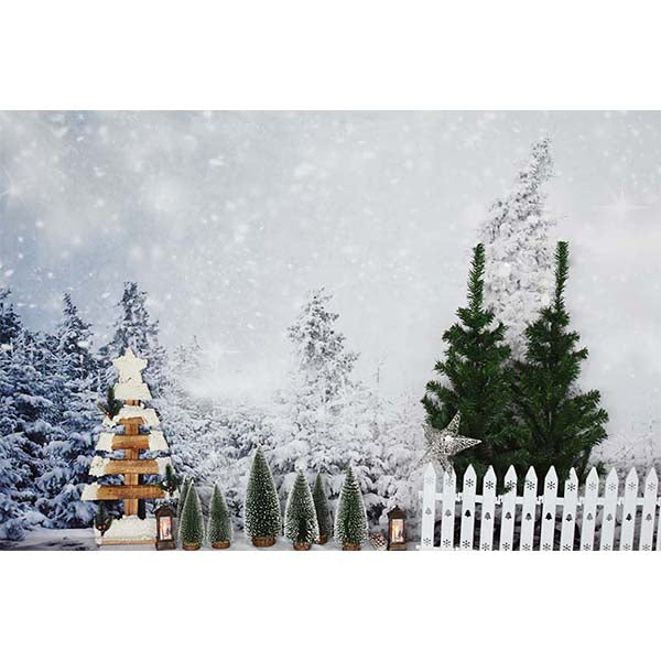 Fox Rolled Outdoor Snow Christmas Pine Vinyl Backdrops-Foxbackdrop
