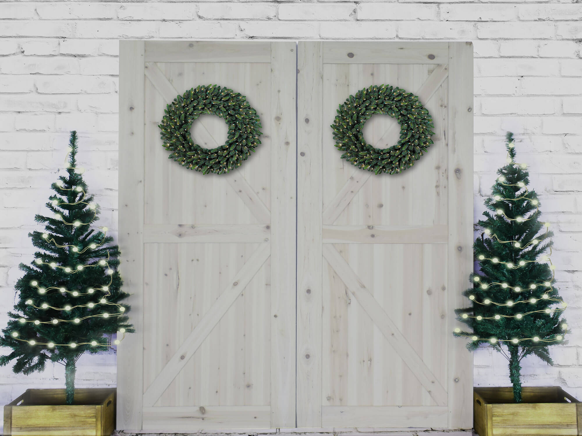 Fox Rolled Brick Wall Wood Door Christmas Tree Vinyl Backdrop-Foxbackdrop