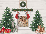 Fox Rolled Indoor Christmas Party Vinyl Photography Backdrop