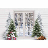 Fox Rolled Christmas Trees Window Vinyl Backdrop
