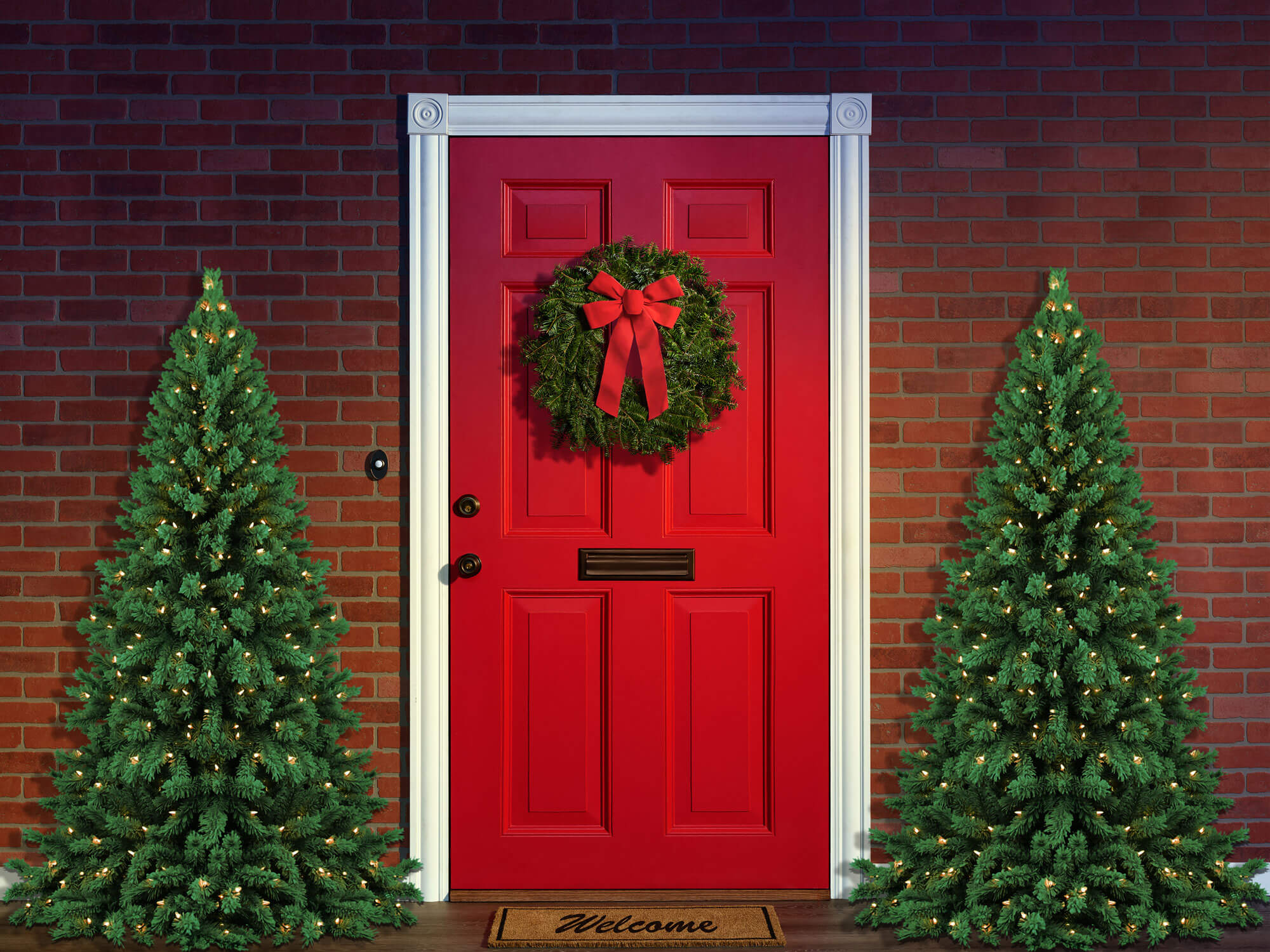 Fox Rolled Front Door Christmas Trees Vinyl Backdrop-Foxbackdrop