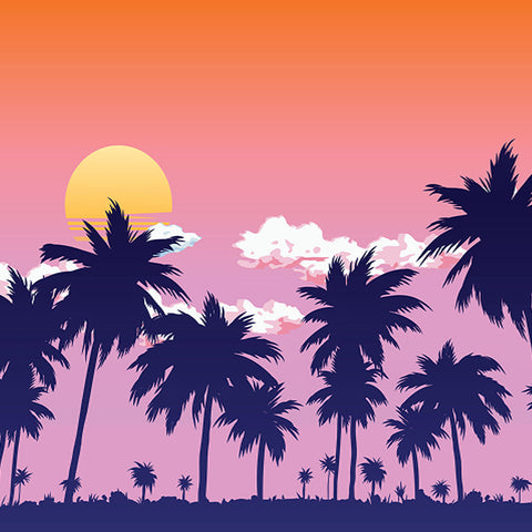 Fox Summer Sunset Coconut Trees Vinyl Backdrop