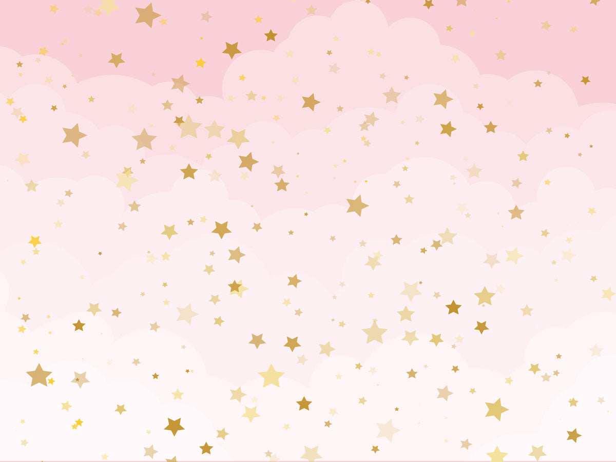 Fox Pink Background with Golden Stars Vinyl Backdrop-Foxbackdrop