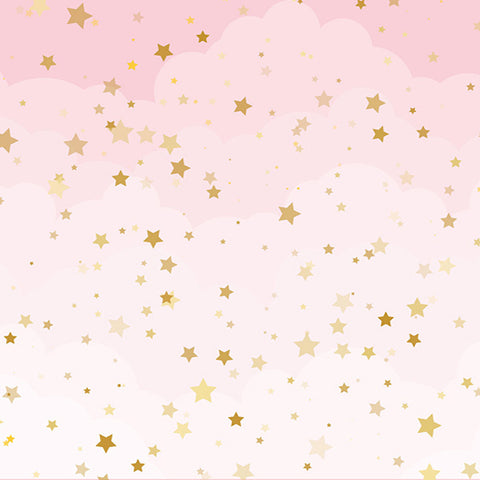 Fox Pink Background with Golden Stars Vinyl Backdrop