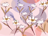 Fox Pink Light Purple Background with Flowers Vinyl Backdrop