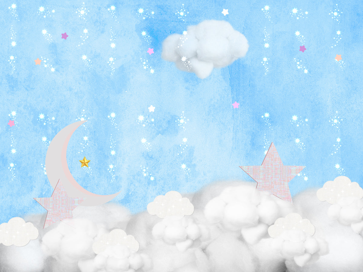 Fox Blue Clouds Stars Children Birthday Vinyl Backdrop-Foxbackdrop