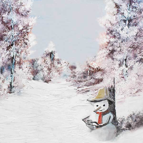 Fox Rolled Winter Snowman Trees Outdoor Vinyl Backdrop