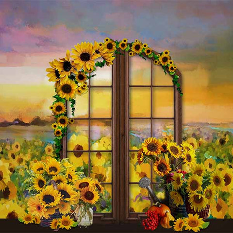 Fox Rolled Yellow Sunflowers Floral Vinyl Backdrops