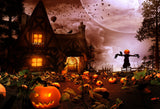 Fox Rolled Halloween Night Party Vinyl Photos Backdrop