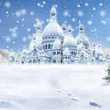Fox Rolled Snow Winter Castle Vinyl Photos Backdrop-Foxbackdrop