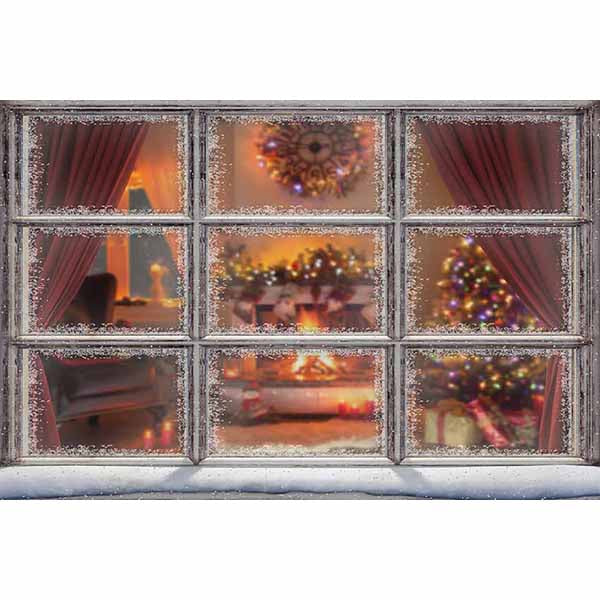 Fox Rolled Outdoor Christmas Vinyl Photos Backdrop