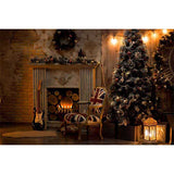 Fox Rolled Christmas Trees Fireplace Vinyl Backdrops for Photography-Foxbackdrop