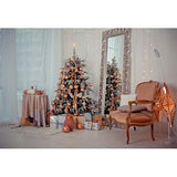 Fox Rolled Christmas Golden Trees Vinyl Photo Backdrop-Foxbackdrop
