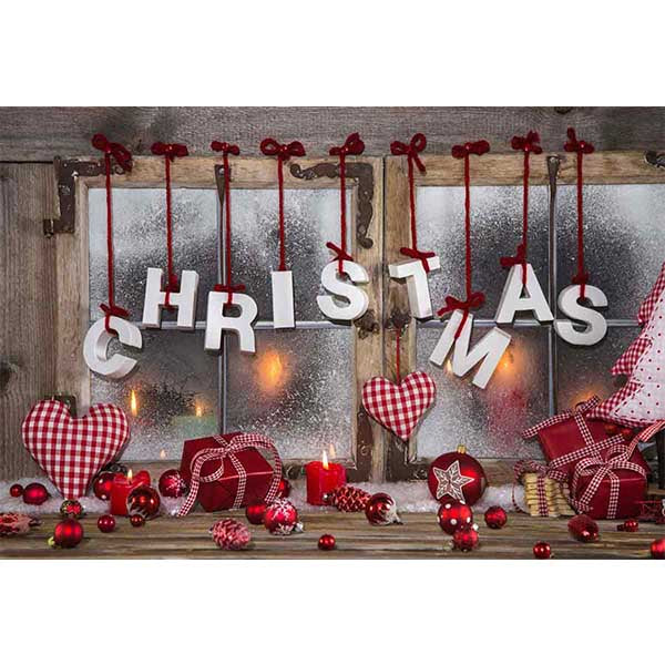 Fox Rolled Window Christmas Vinyl Photography Backdrop-Foxbackdrop