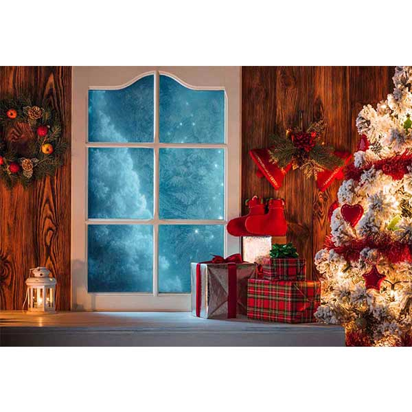 Fox Rolled Indoor Christmas Door Trees Vinyl Backdrop-Foxbackdrop