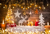 Fox Roll Christmas Wood Lights Thick Vinyl Backdrop-Foxbackdrop