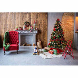 Fox Rolled Christmas Trees Fireplace Vinyl Photo Backdrop-Foxbackdrop