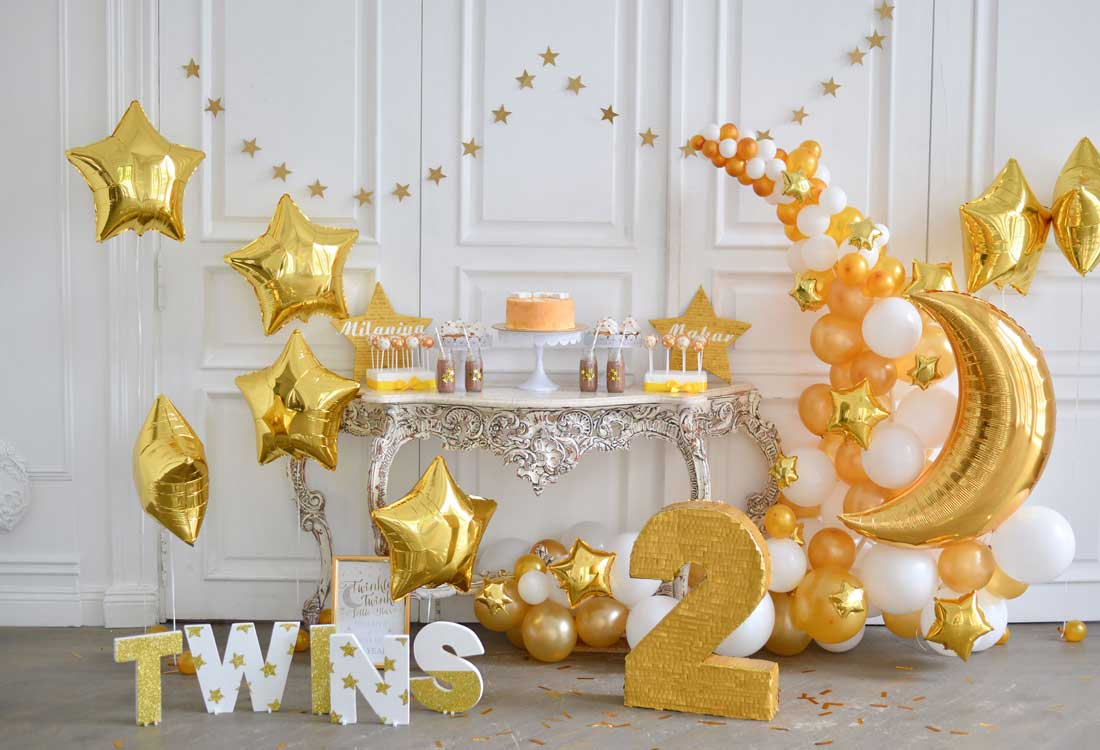 Fox Rolled Golden Cake Smash Kids Birthday Vinyl Backdrop-Foxbackdrop