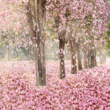 Fox Purple Flowers Trees Vinyl Photos Backdrop-Foxbackdrop