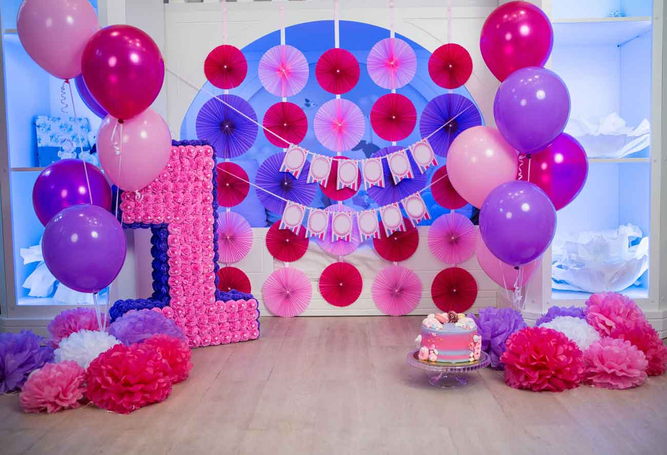 Fox Rolled Pink Balloons Girls Birthday Party Vinyl Backdrops-Foxbackdrop