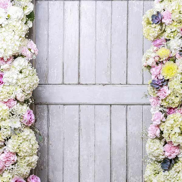 Fox Rolled Flowers Wood Door Wedding Vinyl Backdrop-Foxbackdrop