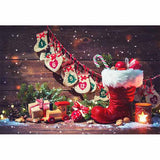 Load image into Gallery viewer, Fox Rolled Rustic Wood Christmas Vinyl Backdrop-Foxbackdrop