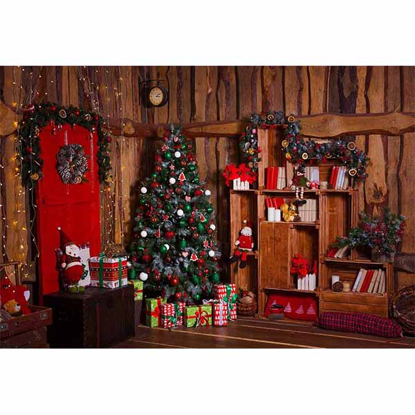Fox Rolled Retro Indoor Wood Christmas Vinyl Backdrop-Foxbackdrop