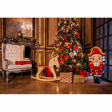 Load image into Gallery viewer, Fox Rolled Christmas Trees Brilliant Vinyl Photo Backdrop-Foxbackdrop