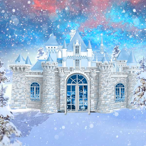 Fox Rolled Vinyl Winter Castle Snow Vinyl Photography Backdrop-Foxbackdrop