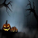 Fox Rolled Halloween Horrible Night Forest Vinyl Backdrop-Foxbackdrop