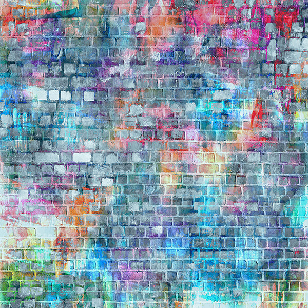 Buy Discount Fox Rolled Colorful Brick Wall Vinyl Backdrop