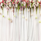 Fox White Curtains with Flowers Wedding Vinyl Backdrop-Foxbackdrop