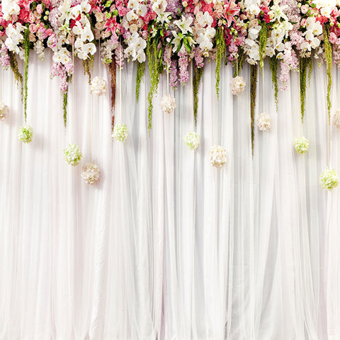 Fox White Curtains with Flowers Wedding Vinyl Backdrop