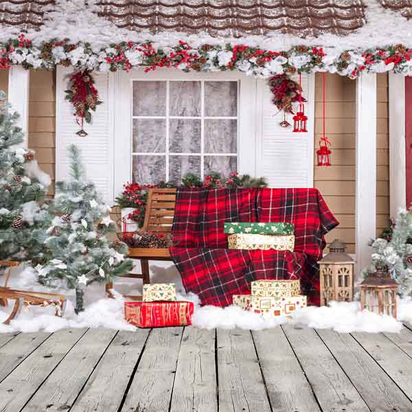 Fox Rolled Christmas Outdoor Thick Vinyl Backdrop