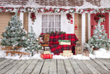 Fox Rolled Christmas Outdoor Thick Vinyl Backdrop-Foxbackdrop
