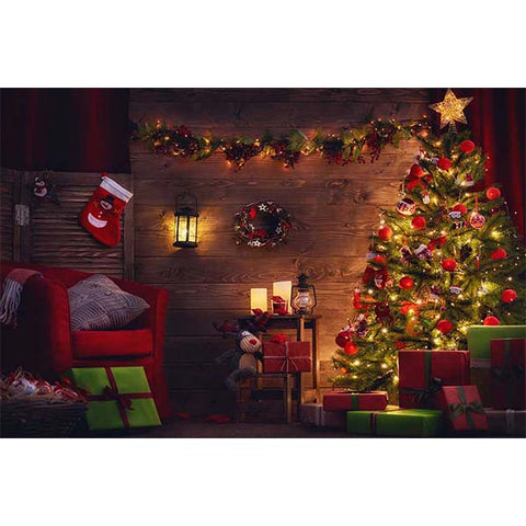 Fox Rolled Christmas Trees Sofa Thick Vinyl Backdrop