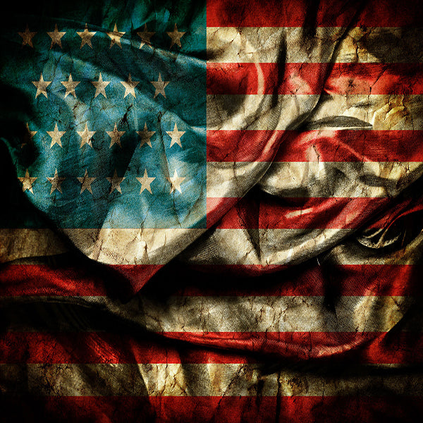 Fox 4th of July Dark Retro American Flag Vinyl Backdrop-Foxbackdrop