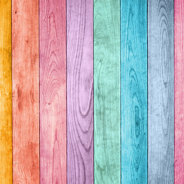 Fox Colorful Wood Wall Children Vinyl Photos Backdrop-Foxbackdrop