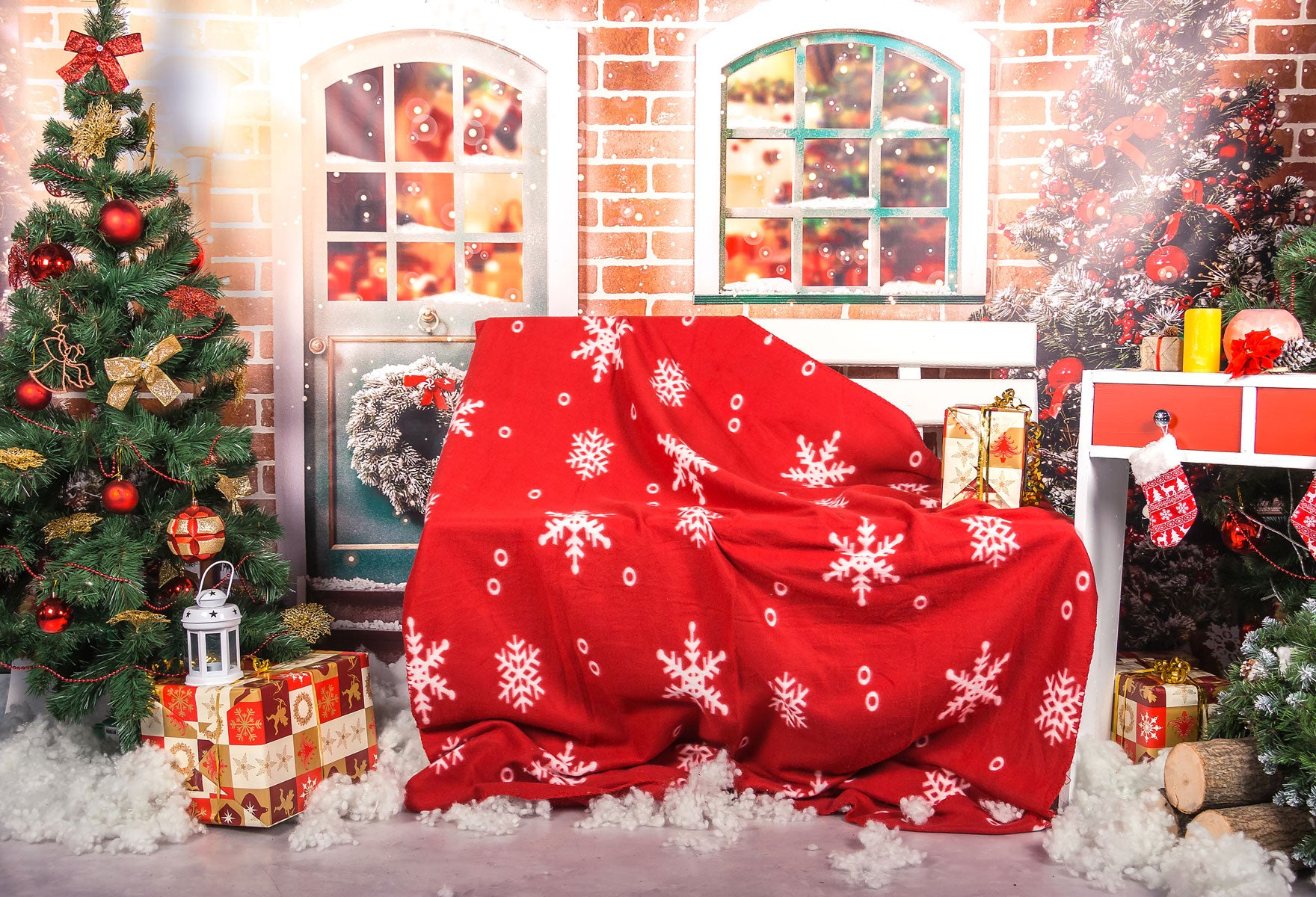 Fox Christmas Festival Children Vinyl Photos Backdrop-Foxbackdrop