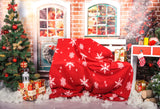 Fox Christmas Festival Children Vinyl Photos Backdrop