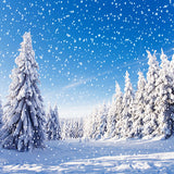 Fox Rolled Snow Winter Trees Sky Vinyl Photos Backdrop