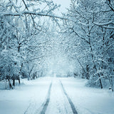 Fox Winter Snow Road Trees Vinyl Backdrop Cloth