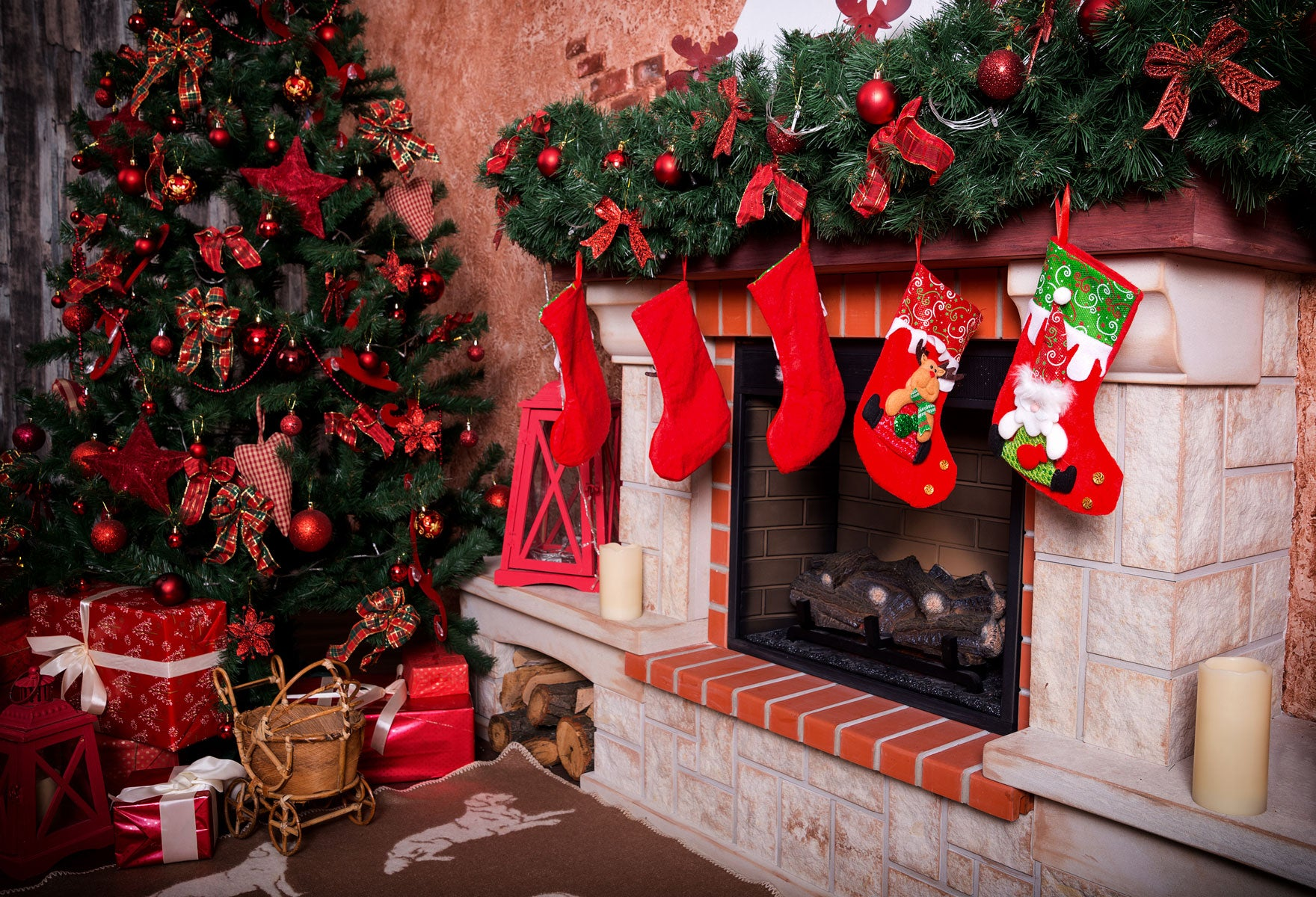 Fox Christmas Fireplace Socks Vinyl Photography Backdrop-Foxbackdrop
