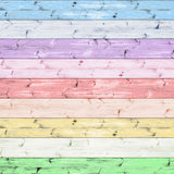 Fox Colorful Wood Wall Vinyl Photography Backdrop-Foxbackdrop