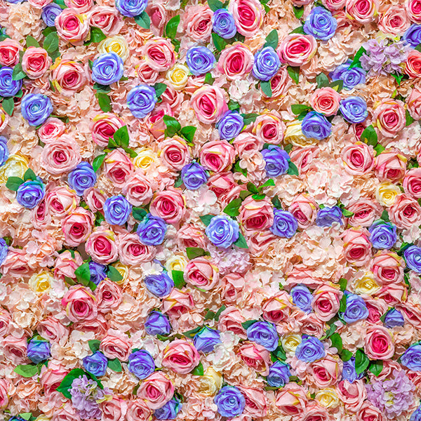 Fox Rolled Pink Blue Flowers Vinyl Floral Photo Backdrop-Foxbackdrop