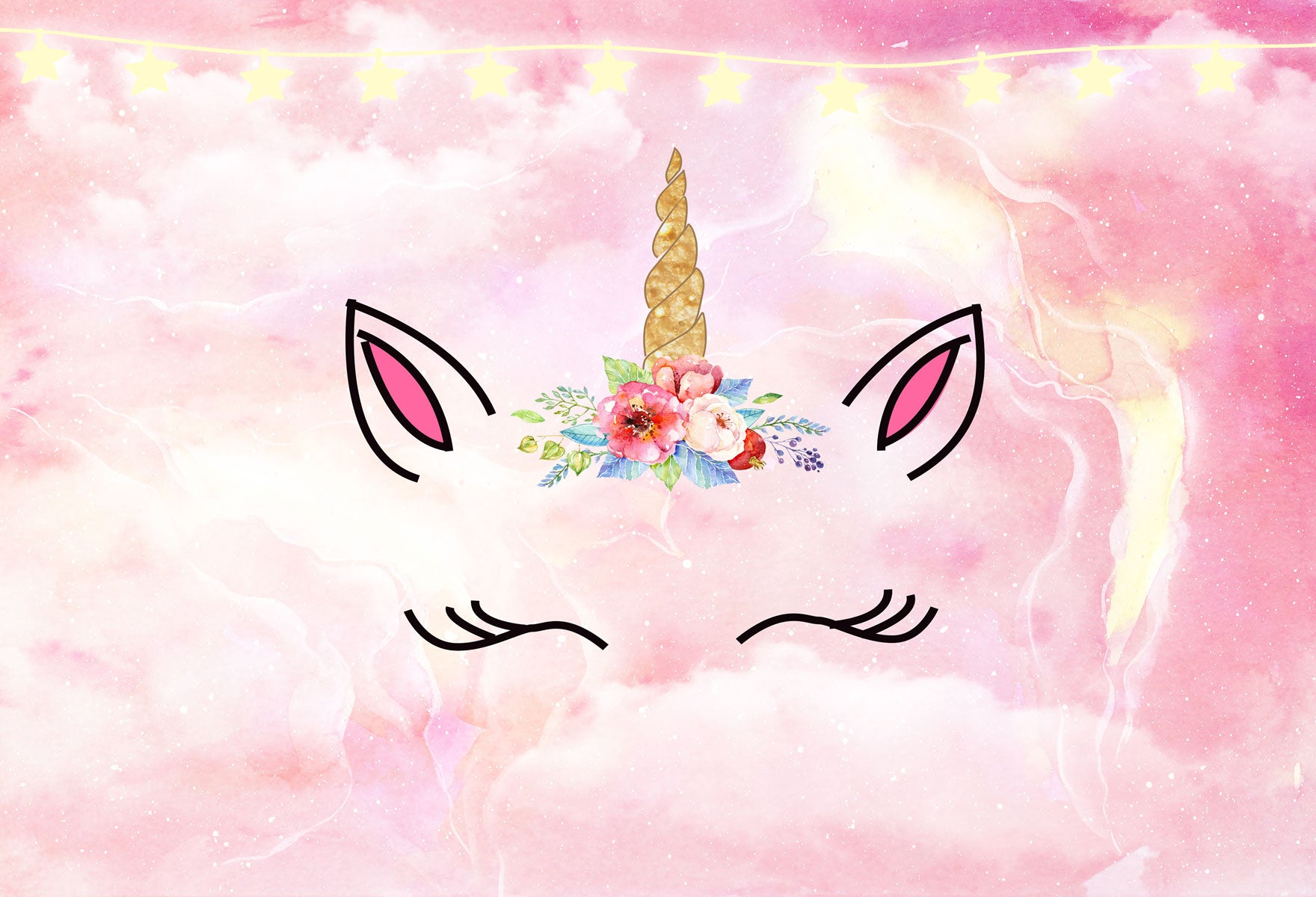 Fox Pink Unicorn Children Birthday Vinyl Photos Backdrop-Foxbackdrop