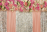 Fox Flowers Sequins Pink Curtain Wedding Rolled Vinyl Backdrop