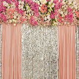 Fox Flowers Sequins Pink Curtain Wedding Rolled Vinyl Backdrop-Foxbackdrop