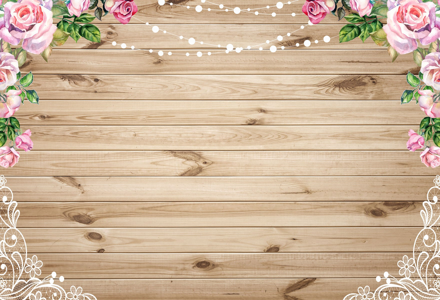 Fox Rolled Wood Board With Flower Vinyl Photos Backdrop-Foxbackdrop