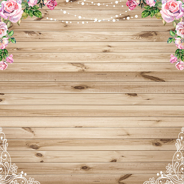 Fox Rolled Wood Board With Flower Vinyl Photos Backdrop